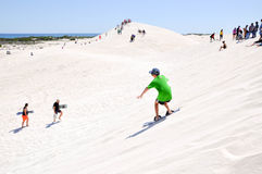 Sand Surfing the Lancelin Dunes stock images