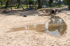 Sand Surin beach pollution from dirty drainage sewer pipe Stock Photos