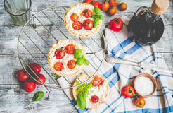 Sand tarts with goat cheese and cherry tomatoes, vegetarian food Royalty Free Stock Photo
