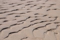 Sand texture on the beach. Wet sand texture on the beach with lines and creases Royalty Free Stock Images