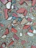 Sand, tiles and cement. Sand tiles and cement in a walk of the city royalty free stock photos