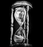 Sand Timer Hour Glass. Black white vintage concept image stock image