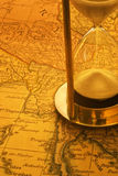 Sand Timer and Map Burma Stock Photography