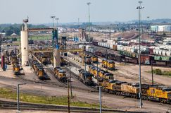 Sand Tower in Railyard. Train locomotives at the sand tower in Union Pacific`s Bailey Railyard in North Platte, Nebraska Royalty Free Stock Image