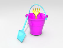 Sand toys. 3D rendered sand toys, bucket, shovel, rake Stock Photos