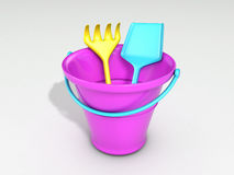 Sand toys. 3D rendered sand toys, bucket, shovel, rake Stock Photography