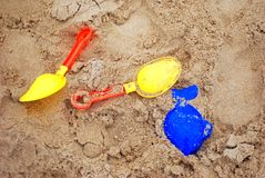 Sand toys in seabeach Royalty Free Stock Image