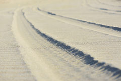 Sand trace of  wheels Royalty Free Stock Images