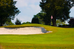 Sand trap on golf course. On sunny day Royalty Free Stock Images