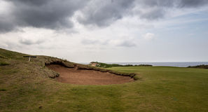 Sand trap. On a links course in Nova Scotia Stock Image