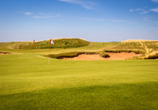 Sand trap. On a links course in Nova Scotia Royalty Free Stock Photo
