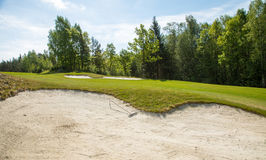 Sand trap, rake in a golf course sand bunkers, raking the sand Stock Image