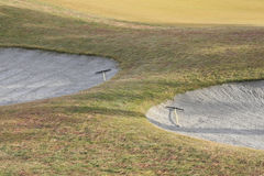 Sand Traps with Rakes Royalty Free Stock Photos