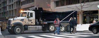 Sand Truck blocks street during Inauguration of Donald Trump Royalty Free Stock Image