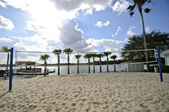 Sand volleyball court Stock Photo