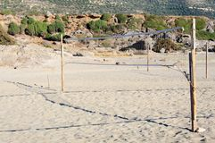 Sand volleyball net on the beach Stock Image
