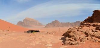 A Bedouin tent at the giant sand dunes,  Wadi Rum, Jordan Royalty Free Stock Photo