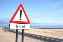 Sand Warning Sign Stock Photos