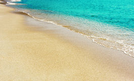 Sand and water. Sea beach. Sand and water surface closeup Stock Photos