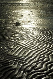 Sand waves. Small wave ripples in the wet sand at low tide . Background Stock Images