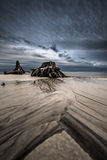 Sand Waves Dramatic Clouds Cypress Tree roots Carabelle Beach Fl Stock Images