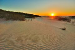 Sand Waves. Sunrise over the atlantic ocean Stock Photography