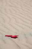 Sand weaves and a red plastic shovel. Red plastic shovel lays on sand alone Stock Photos