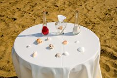 Sand wedding ceremony. A view of vases of sand ready to be mixed together by a bride and groom as part of a beach wedding ceremony Stock Photography