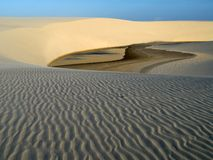 Sand wind. Dunes of National Park of the Lençois Maranhenses in Brazil Stock Photo