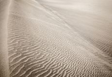 Sand and wind patterns. On dune surface. Pattern is formed by two types of sand grains - dark, small and lightweight and larger lighter and heavier ones stock photography