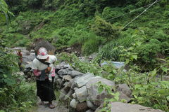Sand woman. A woman carrying sand on basket after take this material from basic river on slove of Merapi Mountain Stock Images
