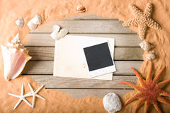 Sand and wood background Stock Photo