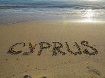 Sand Writing - Cyprus. Sand writing on the golden beach, Cyprus stock photography