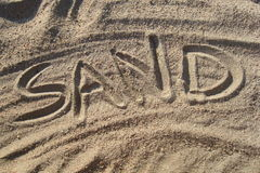 Sand written in sand Stock Photography