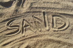 Sand written in sand Royalty Free Stock Photo