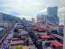 Sandakan is een stad in de Maleise staat van Sabah, op de noordoostelijke kust van Borneo royalty-vrije stock afbeelding