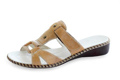 Sandal. S from the beige skin for the women Stock Photography