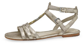 Sandal. A shoe consisting of a sole fastened by straps to the foot Stock Images