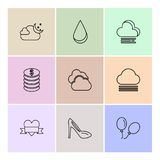 Sandal  ,balloons , coins , Ecology , eco , icons , weather , en. Viroement , icon, vector, design,  flat,  collection, style, creative,  icons , cloud , rain Royalty Free Stock Images