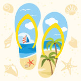 Sandal on the Beach. Illustration of a sandal with beach view Royalty Free Stock Photos