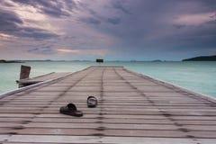 Sandal on a bridge. Sandal on bridge during sunrise of the morning Stock Image