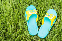 Sandal on grass. Sandal on green grass background Royalty Free Stock Photography