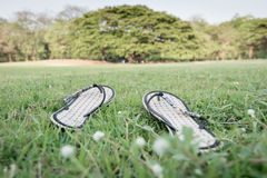Sandal on the ground. Photo of sandal on the ground in Bangkok, Thailand Royalty Free Stock Image