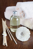 Sandal oil and sticks for aromatherapy Stock Photo