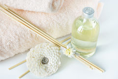 Sandal oil and sticks for spa procedures. Sandalwood oil and sticks for spa procedures Stock Photos