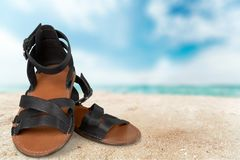Sandal. Shoe pair comfortable hiking leather old Royalty Free Stock Images