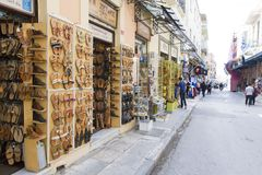 Sandal stores. From Athens, Greece Royalty Free Stock Photography