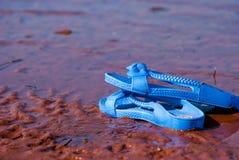 Sandale на пляже стоковые фотографии rf