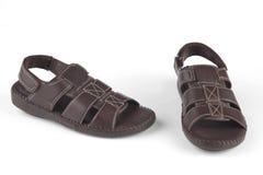 Sandaler för mörk brunt royaltyfri bild