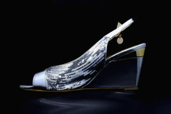 Sandales argentées de dames Photographie stock libre de droits